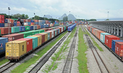 Padang Besar Railway Terminal on the Malaysia - Thailand Border (ollygringo) Tags: train thailand border tracks rail railway cargo line songkhla malaysia trade freight frontier containers perlis padangbesar southeastasiatransport