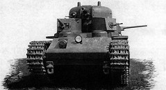 The first tank, T-35-1, was made in August, 1932. Its weight was 42 tons, its armour was 30-40 mm thick. The tank was equipped with one 76 mm gun, two 37 mm guns and three more guns. The crew consisted of 10-11 persons. The dimensions of the tank were 9720 x 3200 x 3430 mm. The travel speed of the tank was 28 km/h. The top of the main turret had a rounded shape. Russia WW II