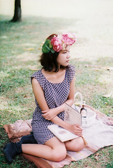 summer charms (Sunshine Thief) Tags: summer portrait film analog 35mm 50mm dress superia portraiture zuiko olympusom1 headdress headgear fujicolor flowercrown