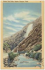 Bridal Veil Falls, Ogden Canyon, Utah (Boston Public Library) Tags: utah waterfalls postcards valleys tichnorbrothers