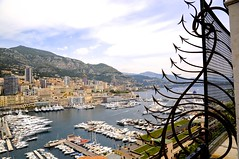 A view of Monaco from the Prince's Palace (Photography By Laurice Marier) Tags: city mountain marina buildings bay boat iron view yacht monaco princespalace