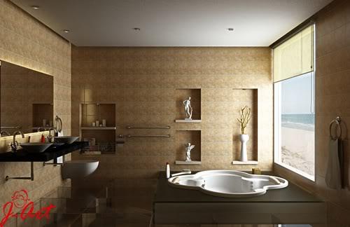 Banheiro com bancada e bacia