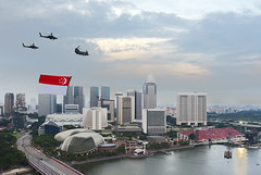Flag flypast (Andrew Tan 2011) Tags: city bridge river bay three fly apache singapore anniversary flag celebration helicopter esplanade ndp trio independence chinook suntec nationalday rivermouth marinabay nationaldayparade flypast nationalevent ndp2013