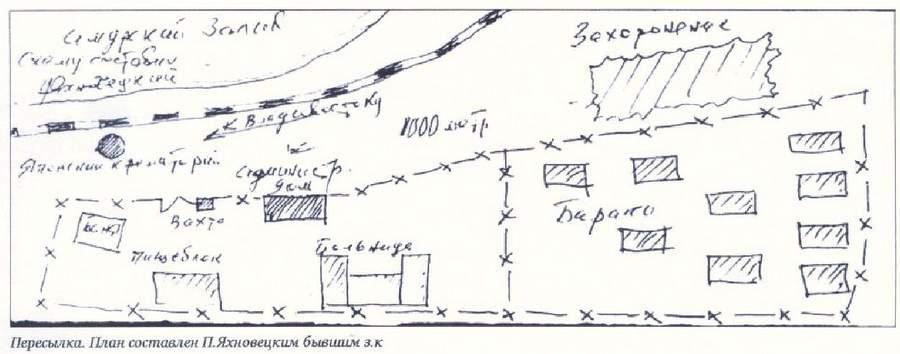 Схема пересыльного лагеря, план составлен бывшим узником Яхновецким