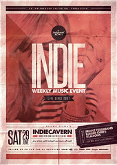 Indie Poster Template Vol. 18 (Indieground Design Inc.) Tags: alternative art band club concert event fest festival flyer gig grunge hipster indie indieground live minimal music poster print red rock shoegaze singer typography underground vintage psd photoshop template stripes retro stitch ribbon dubstep