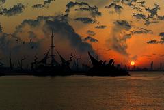 Marina Shipwreck (Azarbhaijaan) Tags: sunset sky art water clouds work shipwreck kuwait salmiya baghdadi marinawaves azharmunir drpanga