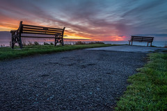 Autumnal Sunrise (Callaghan69) Tags: uk sea england clouds sunrise bench landscape dawn coast seaside nikon scenery colours seat horizon coastal northsea nd nikkor daybreak cokin ndfilters northeastengland newbiggin northumbrian d7100 gndfilters wildaboutnorthumberland