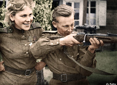 Roza Shanina with Captain (Za Rodinu) Tags: world 2 man men history vintage soldier war gun russia military rifle rifles front german weapon ww2 soldiers historical guns 1942 1945 rare troops 1944 1943