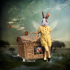 The Guardian of the Universe (Martine Roch) Tags: boy man rabbit art water angel digital photoshop landscape ray child magic butterflies surreal fairy photomontage imagination universe roch whimsical martine flypaper texures thelittledoglaughed