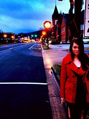 The girl in the red coat (jesse.hensley15) Tags: street red mountains nc coat main marion western wife mainst