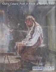 Giulio Cesare Prati Il fuoco si spegne 1883 bozzetto- olio su tela 44x35cm Collezione privata G Prati