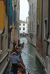 Follow my leader ...... (Halliwell_Michael ## Thanks you for your visits #) Tags: venice italy reflection architecture buildings reflections perspective bridges canals gondoliers gondolas 2013 nikond40x canalsinvenice venetianbridges
