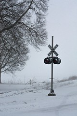 Chilly Weather (Jackson Vandeventer) Tags: snow abandoned up weather lights crossing pacific grove gates union signals villa chilly the subdivision westville