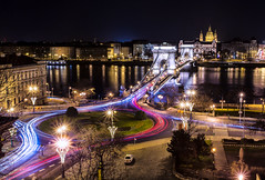 Chain Bridge, Budapest (One_Penny) Tags: city longexposure bridge light urban trafficlights streets color building cars skyline architecture night canon river photography town hungary cityscape view nightshot traffic budapest perspective ungarn danube kettenbrücke donau vantagepoint 6d chainbridge lightstream ststephansbasilika