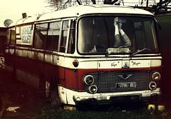 Coach Party (peterphotographic) Tags: uk red england bus abandoned kent coach britain decay olympus faversham microfourthirds ironwharfboatyard favershamquay camerabag2 epl5 p1181357cb2siledwm