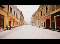 We finally got some snow... (**Alice**) Tags: street houses urban sigma case romania 1020mm streetshot urbanshot românia stradă brașov sonyα450 strmichaelweiss