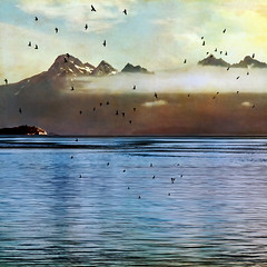the fog is rising (1crzqbn) Tags: sunlight mist seascape color texture nature birds fog reflections square 7d fairweatherrange glacierbayalaska thefogisrising 1crzqbn vision:sunset=0773 vision:outdoor=091 vision:sky=0737 vision:car=0543 vision:ocean=0529