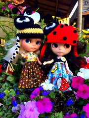 BaD-May 28, 2014 Gardening (missdoolittles) Tags: flowers hat lady bug garden doll day gardening crochet helmet may hats bee ladybug blythe custom helmut beanie miss 2014 doolittles missdoolittles blytheaday basaak uploaded:by=flickrmobile
