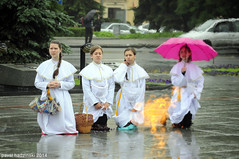 Procession of Body of Christ | 30. Jana (paval hadzinski) Tags: street city flowers girls light summer portrait people urban woman man streets male art love church nature girl beauty face rain june yellow female vintage dark hair grey interesting nikon women mess pretty catholic dress christ god basilica jesus places things nun christian redhead holy explore memory priest belarus spiritual t wonderland emotions fille glise bishop mystic darkhair archbishop dreamgirl miensk totustuus pavalhadzinski flickr12days