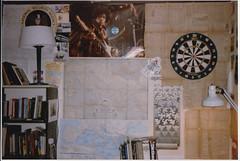 1985_09_27 Grad Center Dorm Room (Ken_Mayer) Tags: ri university room maps dorm gloria providence dartboard posters hendrix dormitory 1986 darts brownuniversity nsa hurricanegloria