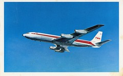 TWA Boeing 707  - 1970 postcard (SSAVE w/ over 2,500,000 views THX) Tags: postcard 1970 twa airliner boeing707 transworldairlines