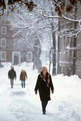 Snow in Harvard Yard in 1977-1978 blizzard, Cambridge (Boston Public Library) Tags: pedestrians slides blizzards portraitphotographs spencergrant