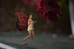 Little fairy (bjokline) Tags: flowers red summer portrait people abstract flower macro art love me nature girl fashion photoshop self canon butterfly garden fun photography photo spring wings model europe pretty day dof photos bokeh modeling live magic fairy mystical magical photoshoped yolo lolor