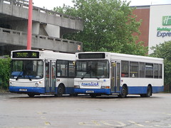 Olympian Coaches/Roadrunner Dennis Dart SLF/Alexander ALX200 LX51FGN / Townlink Dennis/Plaxton Mini Pointer Dart SLF V193ERG Harlow Bus Station 11/07/14 (TheStanstedTrainspotter) Tags: travel bus buses station solo harlow network roadrunner lcb arriva optare tgm dennisdart optaresolo b6le smcoaches trustybus galleontravel townlink dennistridentplaxtonpresident networkharlow