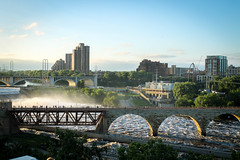Stone Arch Bridge 1 (Stevesworldofphotos) Tags: city water minnesota river downtown flood dam minneapolis waterfalls mississippiriver lockanddam stonearchbridge