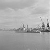 A German Cruiser leaving Dublin after a courtesy visit! (National Library of Ireland on The Commons) Tags: jamespo'dea o'deaphotographiccollection nationallibraryofireland germannavy courtesyvisit dublinport peace grafspee f215 northwallquay dublin westgermany ringsend cranes port hipper f214 commanderhcollmann commanderphartwig frigate mvmurell cadets trainingship reception salute