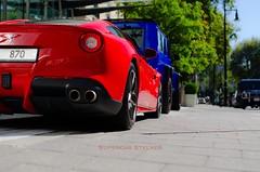 Red Blue (Supercar Stalker) Tags: ferrari f12 ferrarif12 mercedes amg 4x4 squared 4x4squared g500 mercedesg500 g5004x4squared supercarsoflondon supercarstalker red blue