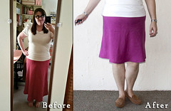 Spiegel Skirt - Before and After (ShowAndTellMeg) Tags: refashion thrifted beforeandafter spiegel 90s linen skirt newhem