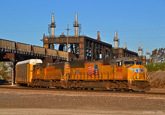 """Northbound Autorack Train in Kansas City, MO (""""Righteous"""" Grant G.) Tags: up union pacific railroad railway locomotive train trains north northbound autorack auto kansas city missouri emd power"""