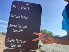 First: North Fortuna Summit - Second: South Fortuna Summit (Blue Rave) Tags: iphonephotography iphoneography sandiego nature trail missiontrailsregionalpark fortunamountaintrail 2016 self myself ego me bloke dude guy male mate people selfie sign path pathway trailsign california ca