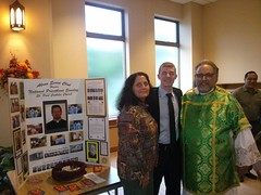 """Seminarian Danial Morgan with Andrea Reddest and Deacon John Amedeo after the 11am mass on  Priest Appreciation Day. Danial thanked all for the help and prayers as he proceeds through seminary. • <a style=""""font-size:0.8em;"""" href=""""http://www.flickr.com/photos/98129408@N05/30076445943/"""" target=""""_blank"""">View on Flickr</a>"""