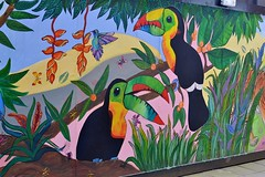 2016-10-09: Toucans (psyxjaw) Tags: london londonist eastlondon towerhamlets isleofdogs theisland docklands painted wall housing estate toucan birds