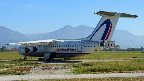 British Aerospace 146-200 c/n E2054 Albanian Airlines registration ZA-MAL stored at Tirana Airport, Albania