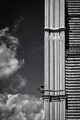 Orvieto Duomo Detail (Mike Schaffner) Tags: bw blackwhite blackandwhite cathedral church clouds duomo italia monochrome stone stonework tile umbria orvieto italy it