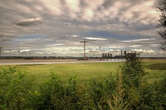 Wigg Island (Tony Shertila) Tags: 20150825115332 england gbr geo:lat=5334737470 geo:lon=270864487 geotagged haltoncastleward runcorn unitedkingdom europe britain cheshire wiggisland weather day clouds cloudy horizon sky construction crane outdoor tower powerstation fiddlersferry vista