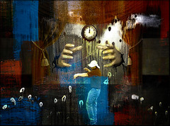 From the stage to oblivion (bdira3) Tags: surreal stage man dancing clock textured