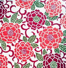 Kyoto yuzen washi 9 (tengds) Tags: handmadepaper japanesepaper yuzenwashi kyotoyuzen washi chiyogami flowers chrysanthemum leaves orange green redviolet tengds