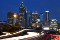 North Ave. View/I-85 Atlanta (sherri_lynn) Tags: atlanta nightlandscape nightphotography bluehour lighttrails citylights city georgia highway northavenuebridge buildings cities cityscape highways longexposure skyscrapers