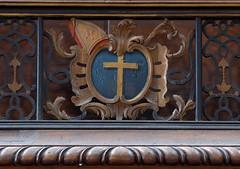 Saint Omer, Nord-Pas-de-Calais, Cathédrale Notre-Dame, astrological clock, detail (groenling) Tags: saintomer pasdecalais nordpasdecalais france fr cathédrale notredame astrologicalclock horlogeastrolabe engueran horloge clock calendrier calendar astrolabe zodiac zodiaque cross croix miter mitre