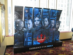 Star Wars - Rogue One Story standee - 2016 NYC 8311 (Brechtbug) Tags: star wars rogue one story standee 2016 theatre lobby 34th street amc theater new york city space opera film movie science fiction scifi android kaytoo k2so imperial droid protocol robot metal man mekkano adventure galactic prototype design metropolis fritz lang death plans card board december 12032016 nyc billboard poster billboards posters ralph mcquarrie ron cobb syd mead