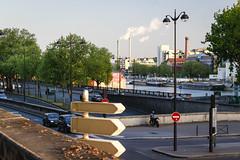 Intersection (georgemoga) Tags: bercy car lamp paris river seine sign street tree water ledefrance france fr