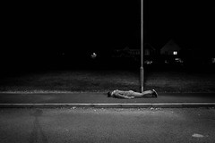 Under the Streetlight FDT (#114) (Forty-9) Tags: 29112016 selfie evening forty9 tuesday blackandwhite facedowntuesday fdt114 path night streetlight bw lightroom fdt canon efslens facedown 2016 tomoskay eos60d 29thnovember2016 efs1022mmf3545usm november underthestreetlight dark pavement
