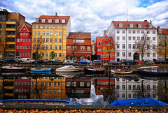 Christianhavn in Copenhagen, Denmark (` Toshio ') Tags: toshio denmark copenhagen christianhavn houses canal colorful europe european europeanunion danish scandinavia boats fujixe2 xe2 reflection harbor clouds city cars transportation
