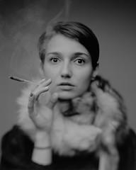 Jula (aleksanderhonca.pl) Tags: portrait bw woman film girl monochrome analog smoke smoking fox epson 4x5 100 analogue rodinal portret czb largeformat bwfilm bwportrait agfarodinal linhoftechnikaiv epsonv700 fomafomapan film:iso=100 largeformatportrait 4x5portrait film:brand=foma developer:brand=agfa developer:name=agfarodinal film:name=fomafomapan100 schneider150mmf56symmarconvertible potret4x5 smokingwomanwithfox portret4x5 filmdev:recipe=8774