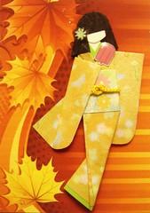 ATC1244 - Enjoying a popsicle 2 (tengds) Tags: flowers orange green leaves atc rust autumnleaves geisha kimono obi ochre origamipaper popsicle lightgreen mapleleaves papercraft japanesepaper washi ningyo handmadecard chiyogami japanesepaperdoll origamidoll nailartsticker tengds origamiwashi