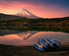 Morning Haiku (NatashaP) Tags: mountain lake reflection japan sunrise boats fuji saiko